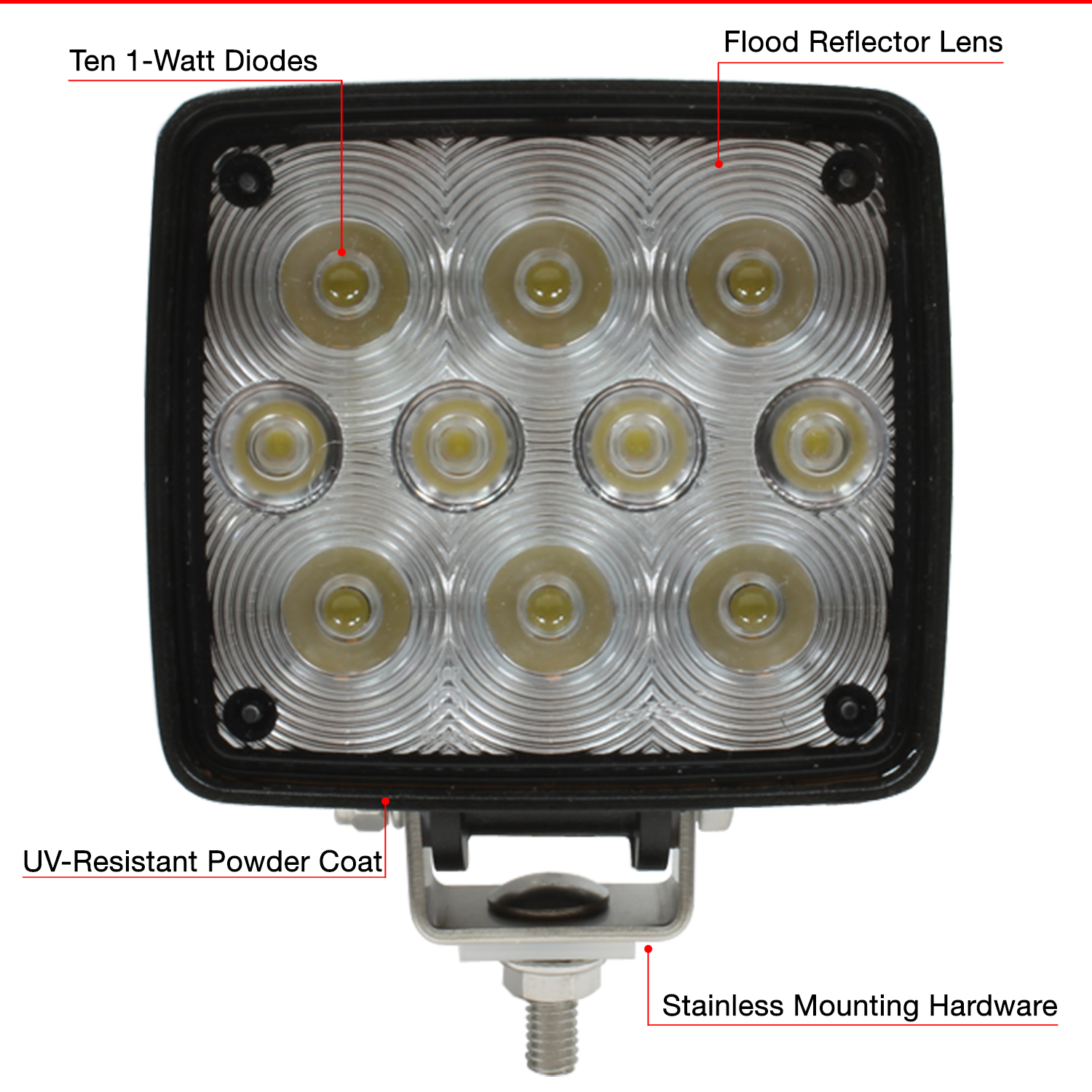 266-655WH 4.5-Inch Square LED Work Lamp