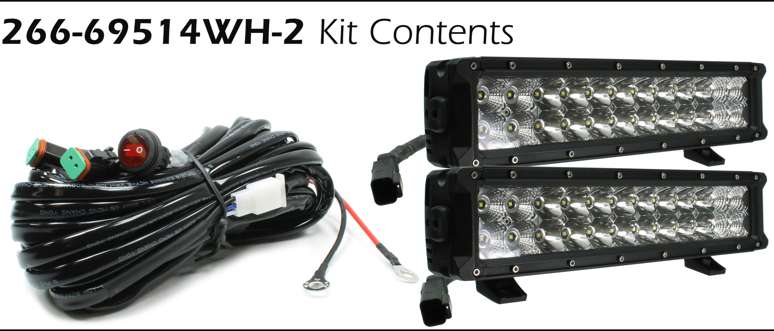 Auer Automotive 266-69514WH-2 Dual 14-Inch LED Light Bars with Harness and Switch